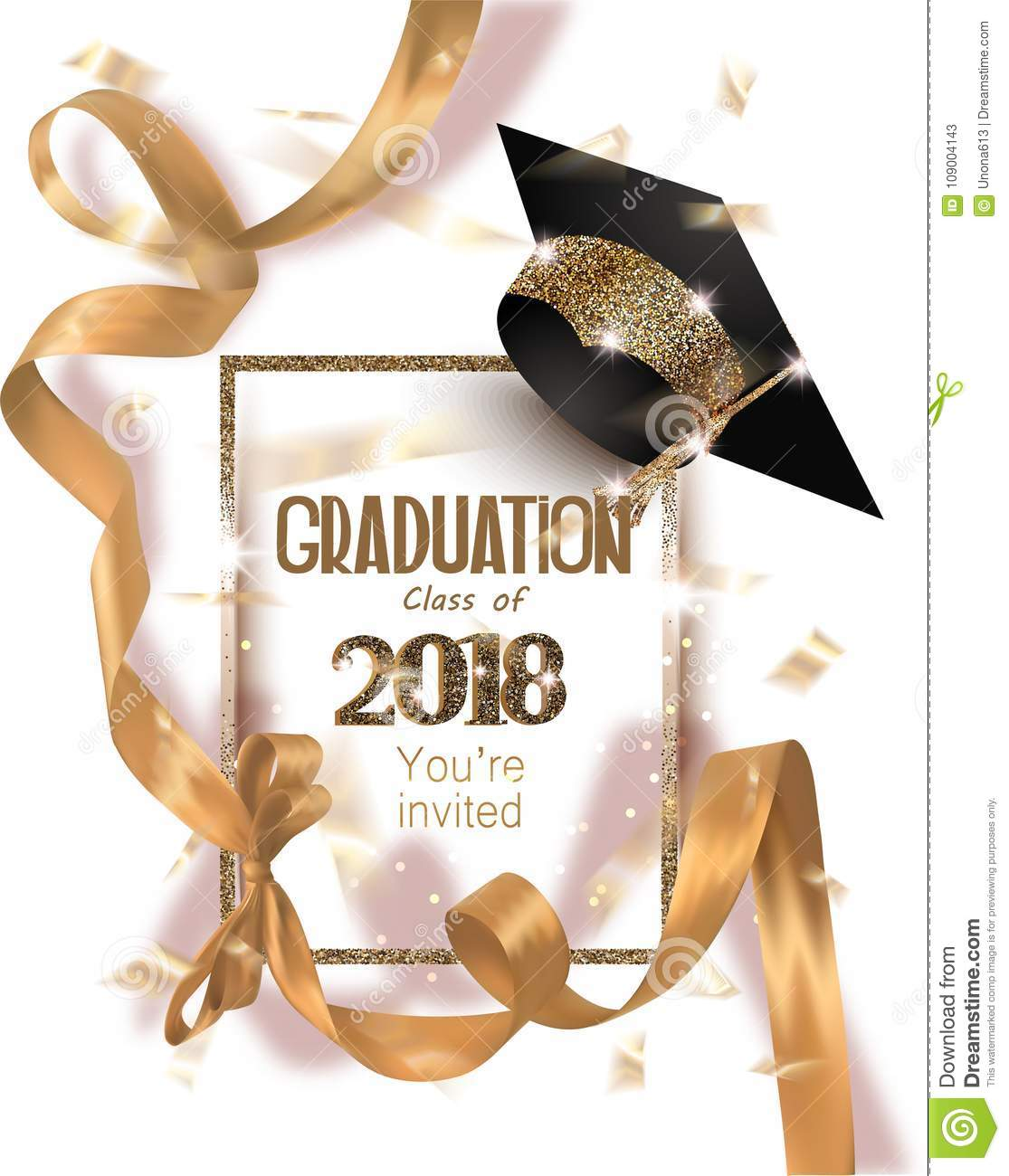 Graduation 2018 party invitation card with hat and long gold silk ribbon and confetti.