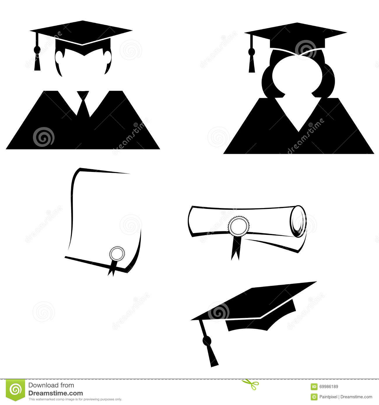 Graduation Pictograms Stock Vector Illustration Of Unrolled 69986189