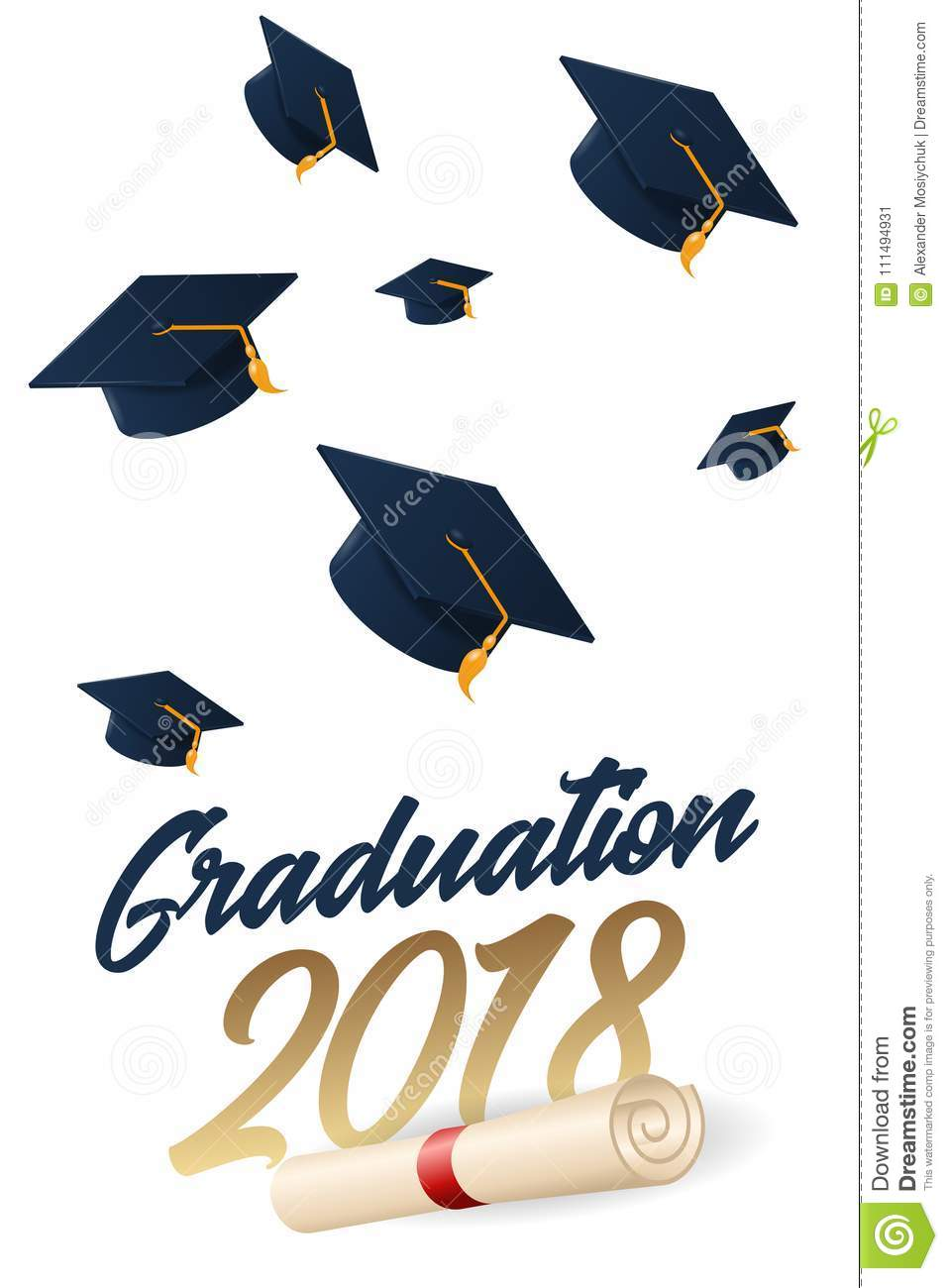 graduation 2018 poster with hat or mortar board stock vector