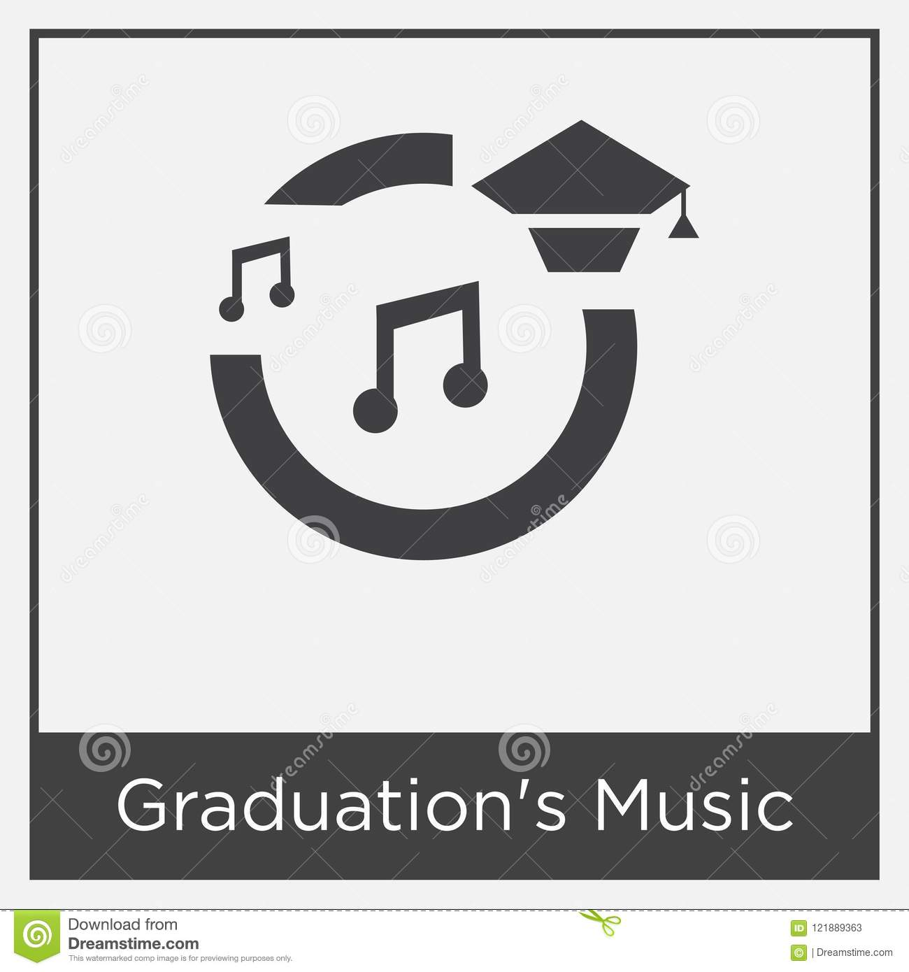 Graduations Music Icon Isolated On White Background Stock Vector