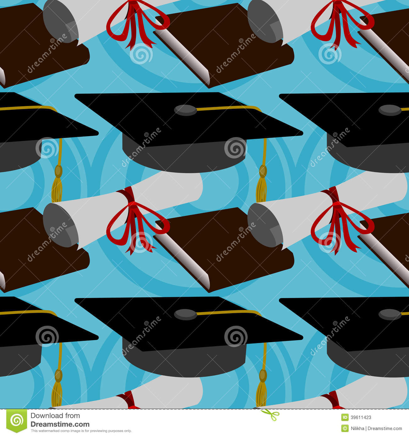 Graduation Seamless Background Design Stock Illustration ...