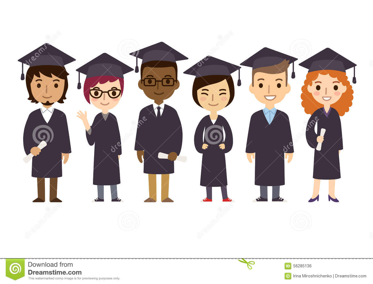 graduation students stock vector illustration of college