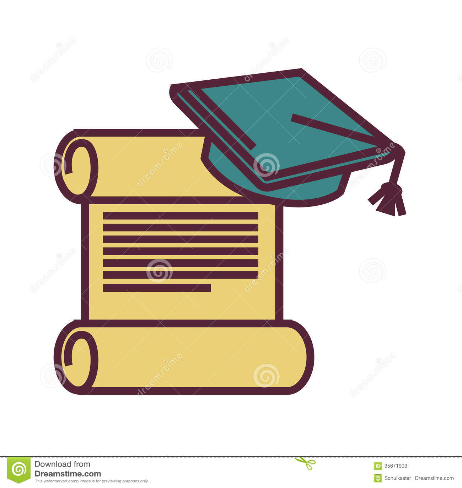 Graduation Symbols Old Parchment And Square Academic Cap Stock