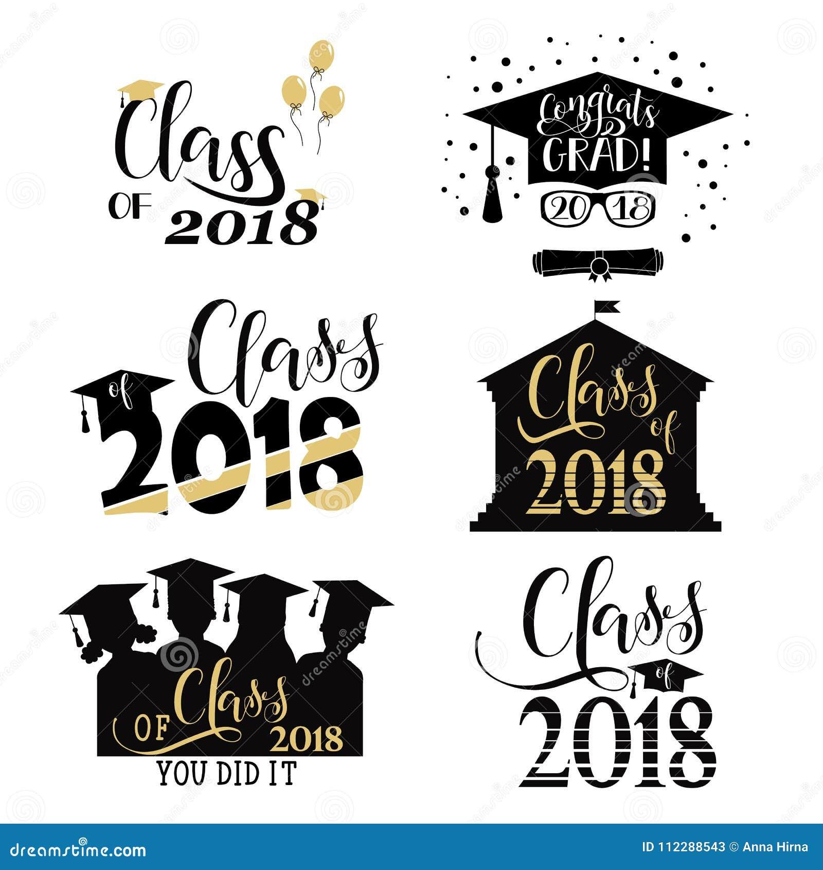Graduation Wishes Overlays Lettering Labels Design Set Retro