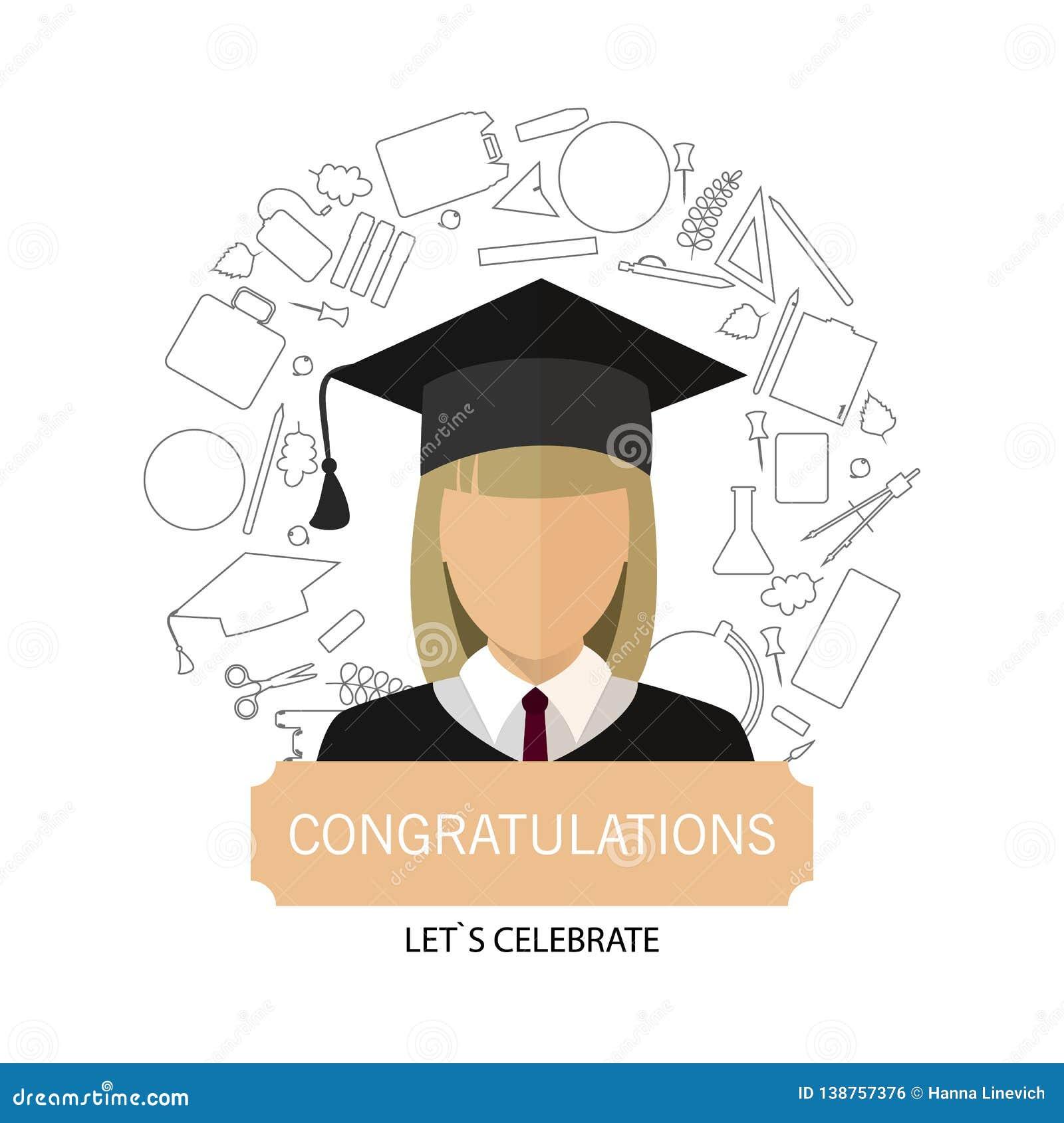 Graduazione Logo Template Design Elements Ragazza dell icona in vestiti della scuola circondati dalle materie d insegnamento