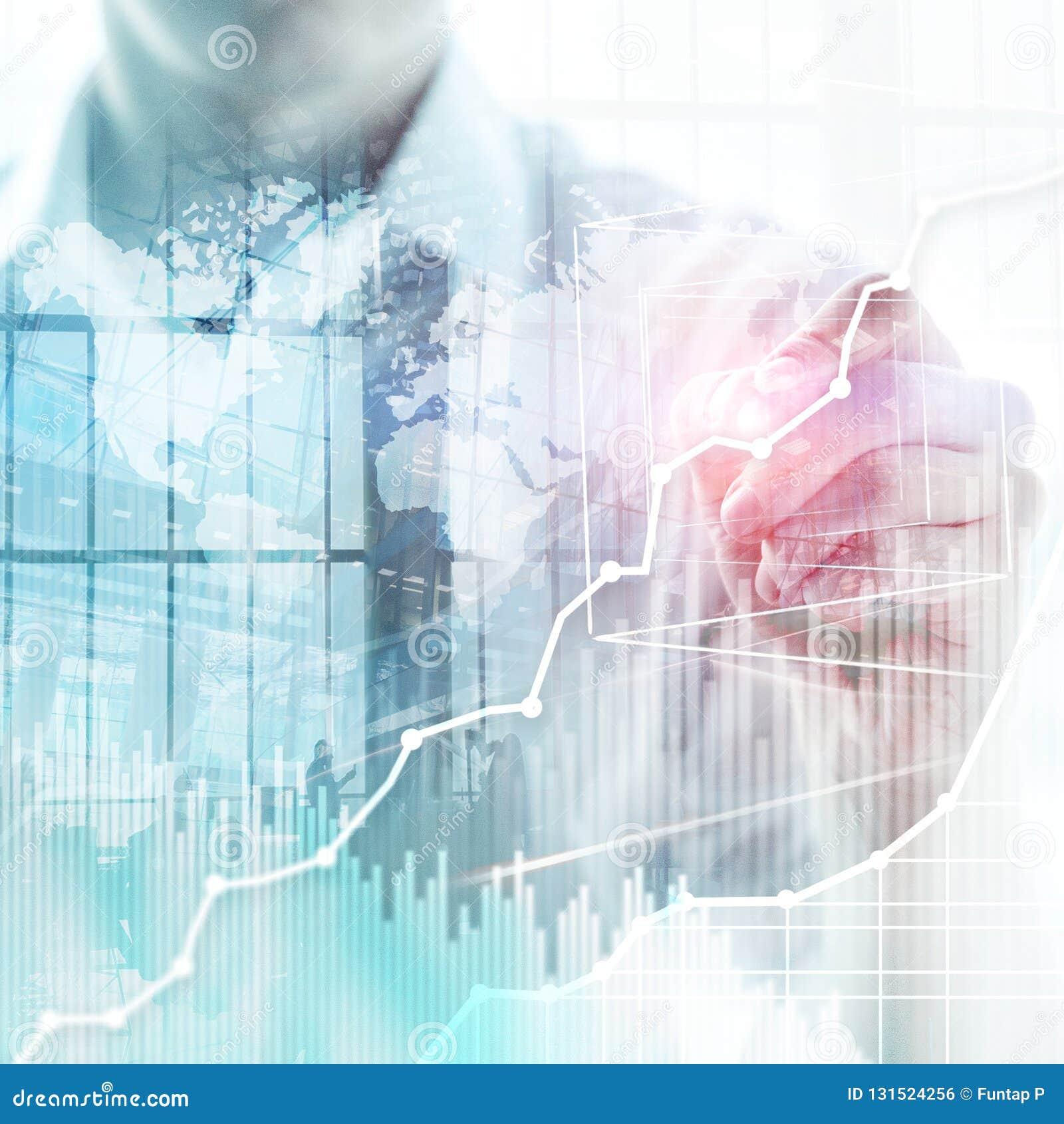 Graf, diagram och diagram för dubbel exponering för bakgrund för affär abstrakt Värld - bred översikt och Global affär och finans