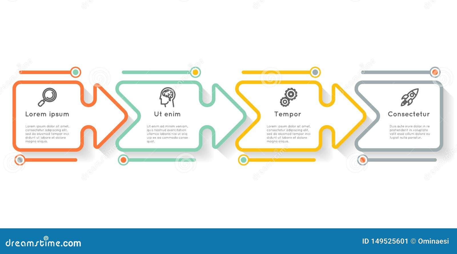 Graf för information om orientering för workflow för symboler för moment för alternativ för etikett för presentation för diagram