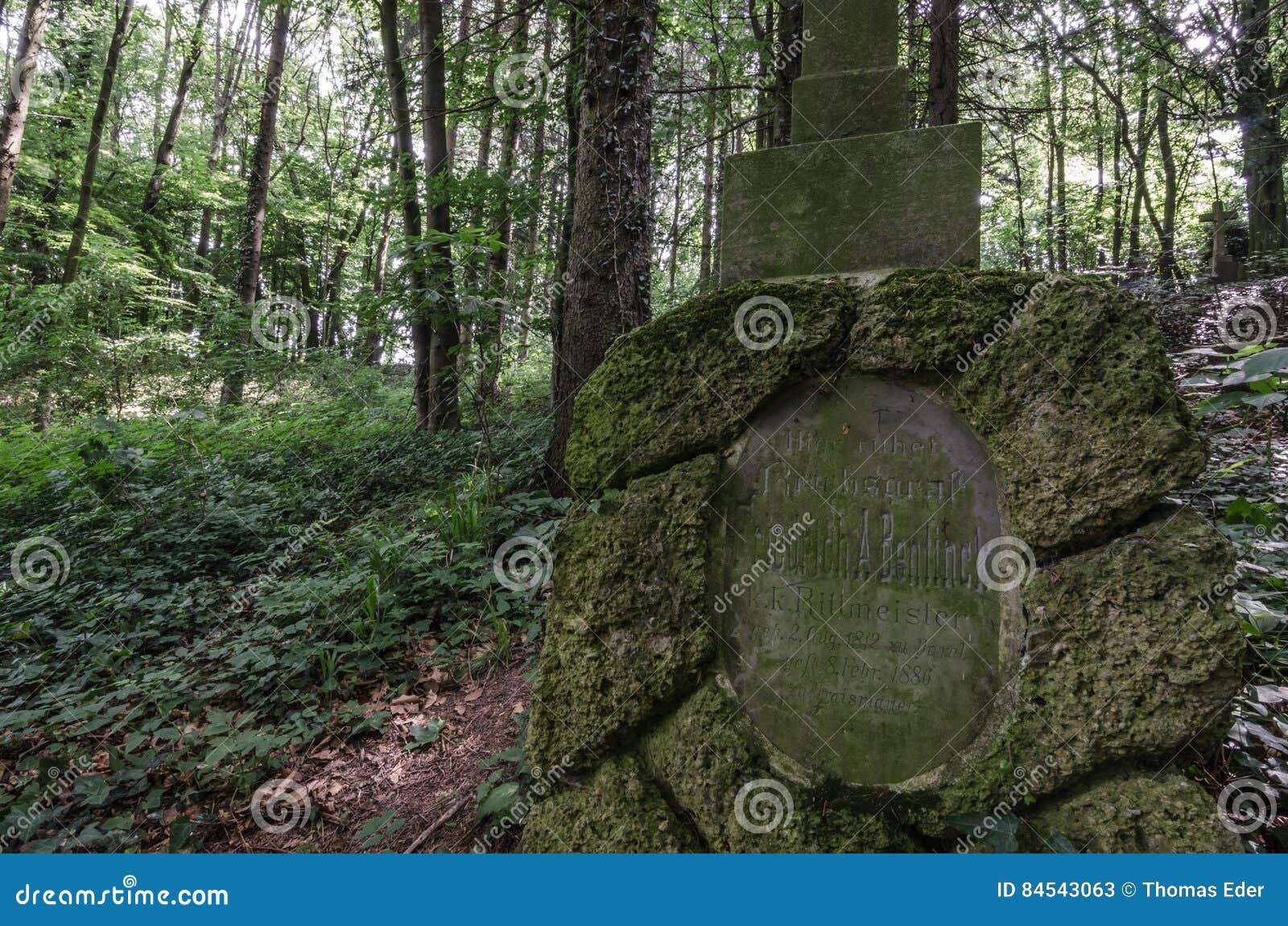 Graf met scripture in bos