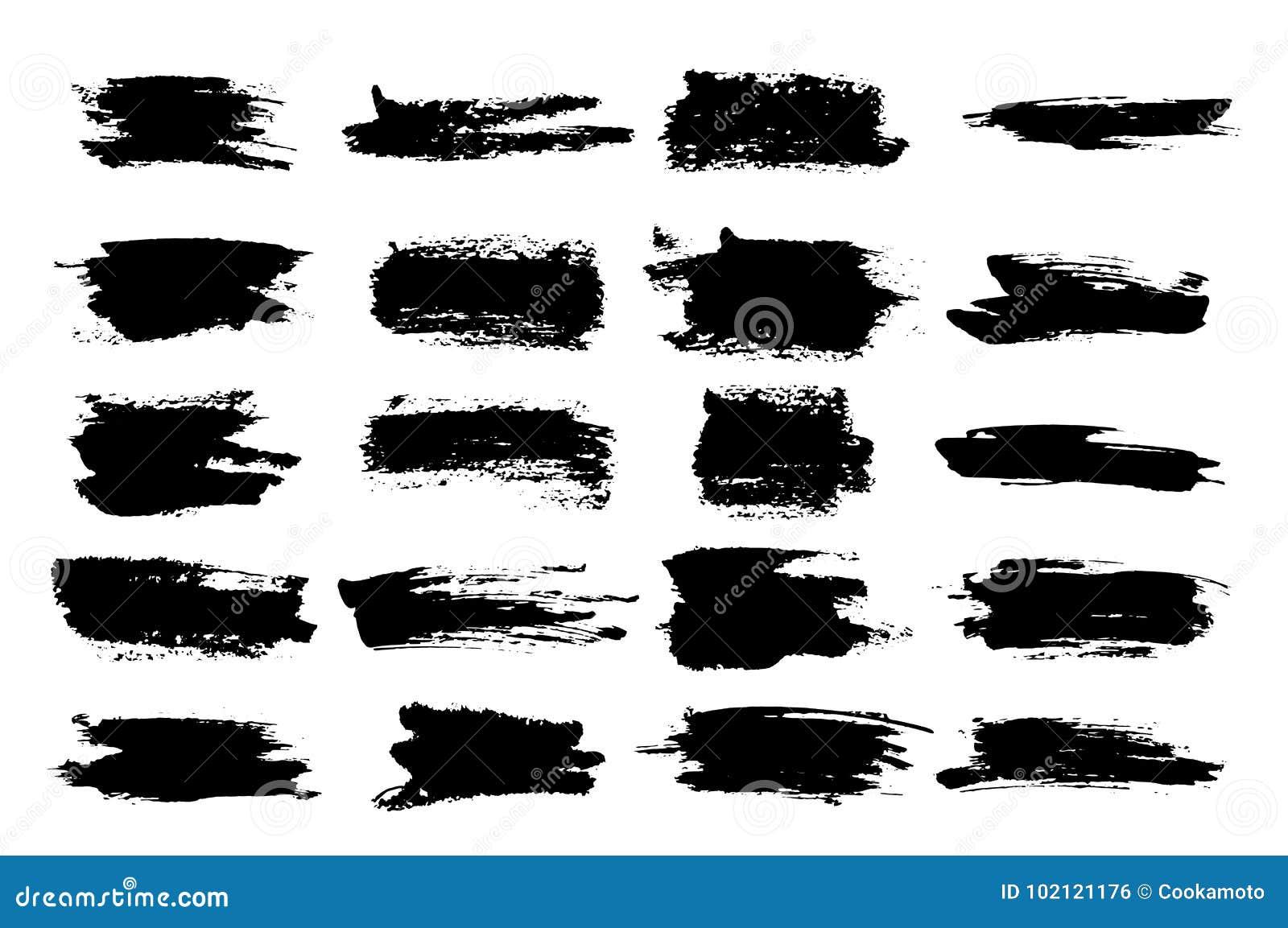 Graffi dell inchiostro o acquerello neri orizzontali della spazzola