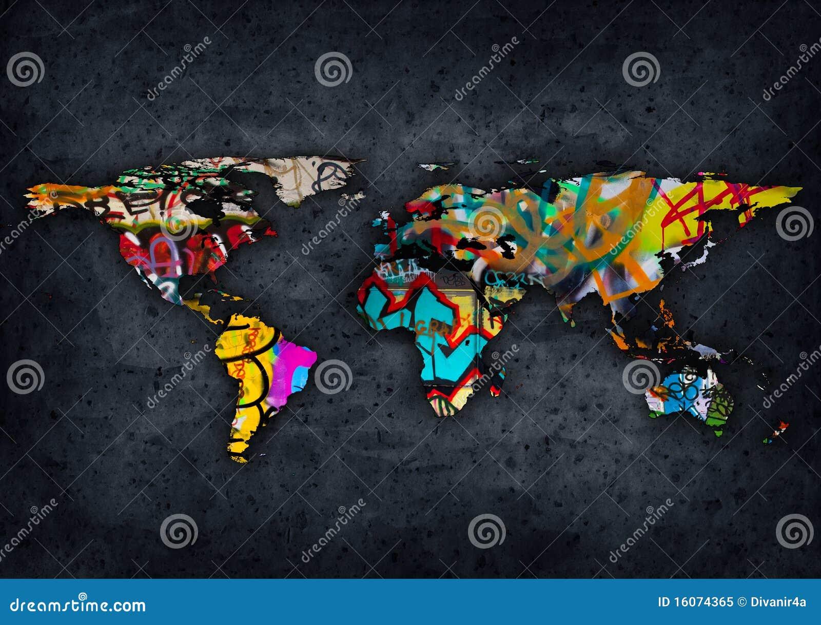 Graffit world map stock illustration illustration of urban 16074365 graffit world map gumiabroncs Choice Image