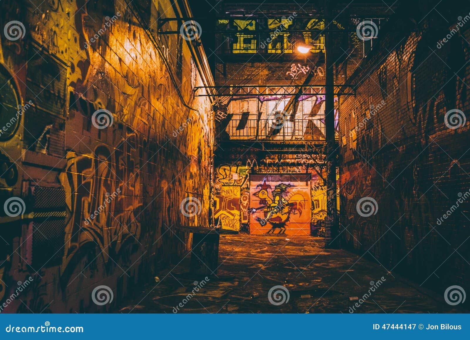 Graffiti wall baltimore - Graffiti Alley At Night In Baltimore Maryland Royalty Free Stock Photography
