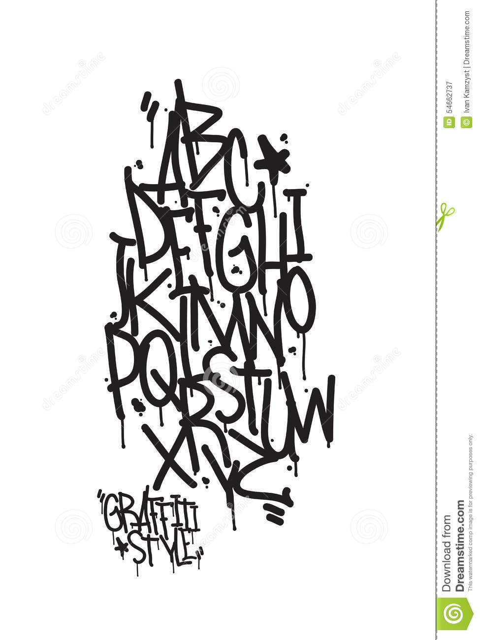 Stock Vector: Graffiti alphabet. Letters of the alphabet written with ...