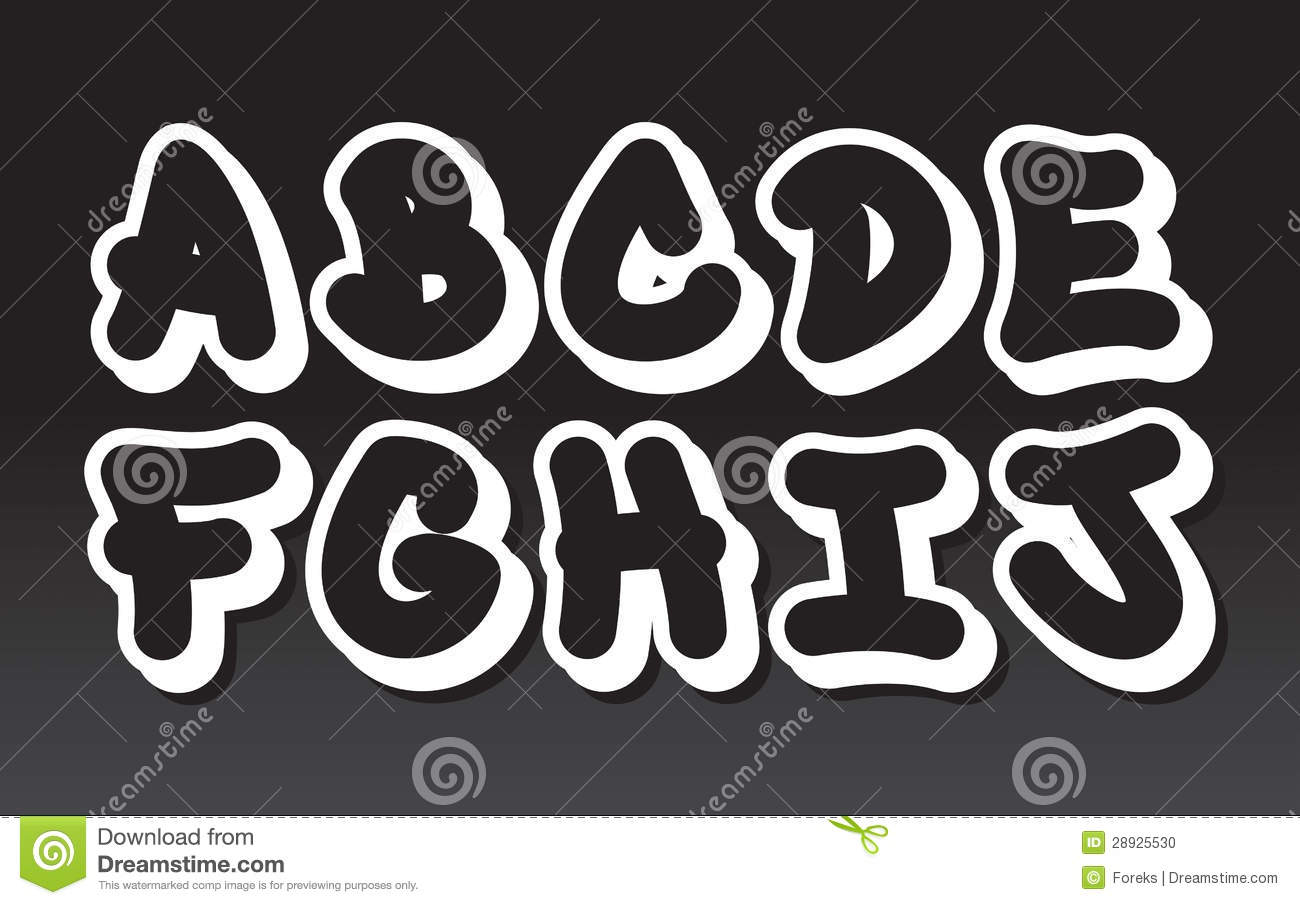 Graffiti Alphabet Part 1 Stock Vector Illustration Of Graffiti