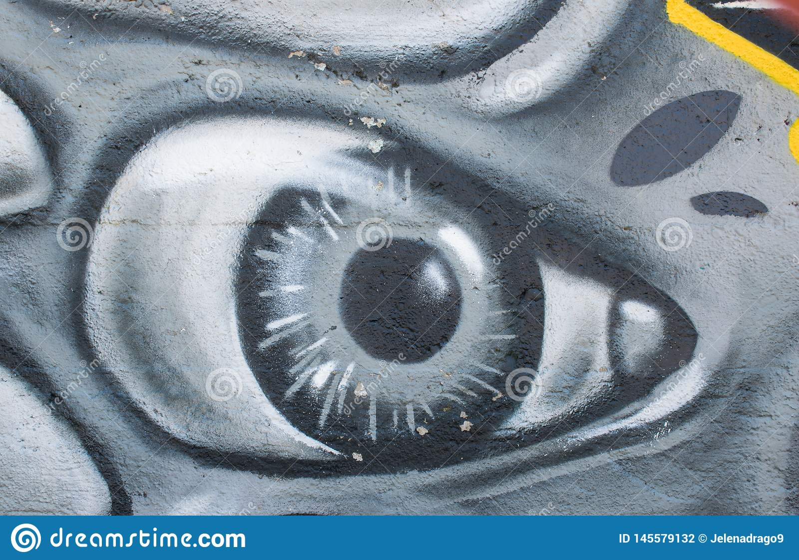 Graffiti Art In The City Street Showing The Painted Eye On The