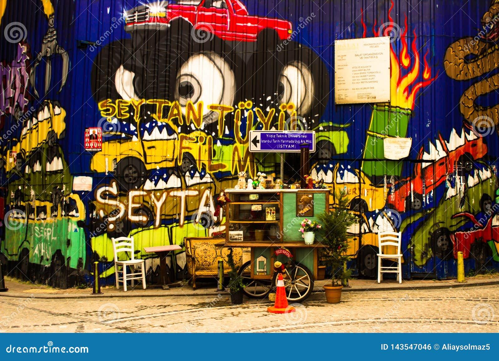 Istanbul, Balat / Turkey - March.30.2019, Street Art Graffiti - Street Food Vendor