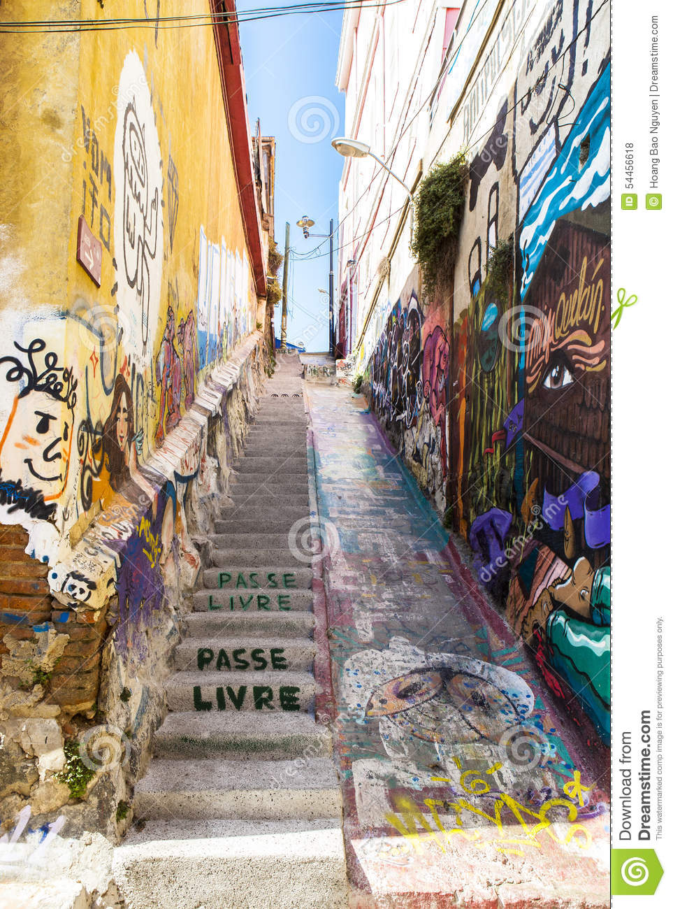 graffiti art in valparaiso  chile editorial stock photo