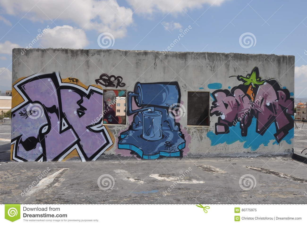 Graffiti Art Wall In Cyprus Editorial Image - Image of city