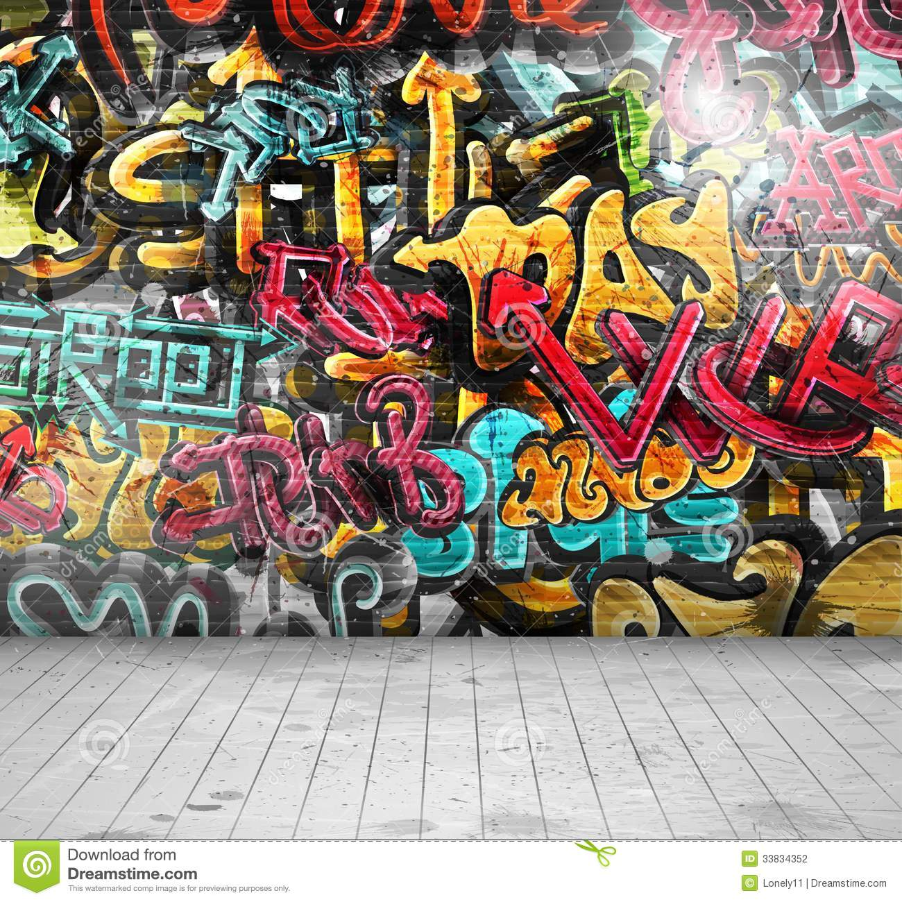 graffiti auf wand vektor abbildung bild von k nstlerisch 33834352. Black Bedroom Furniture Sets. Home Design Ideas