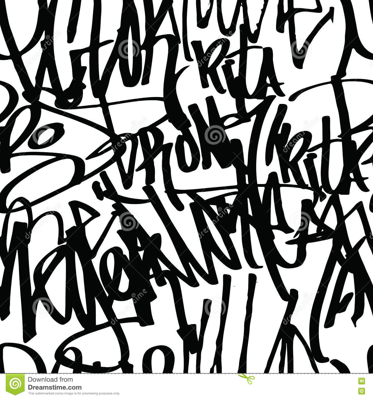 Graffiti background seamless pattern vector tags writing graffiti hand style old school street art texture monochrome black and white colors