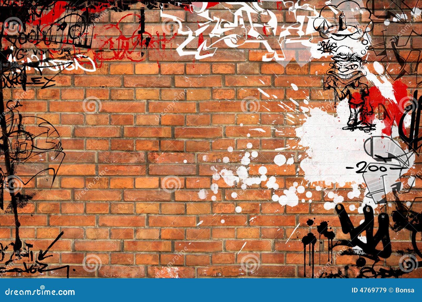 Graffiti-Backsteinmauer