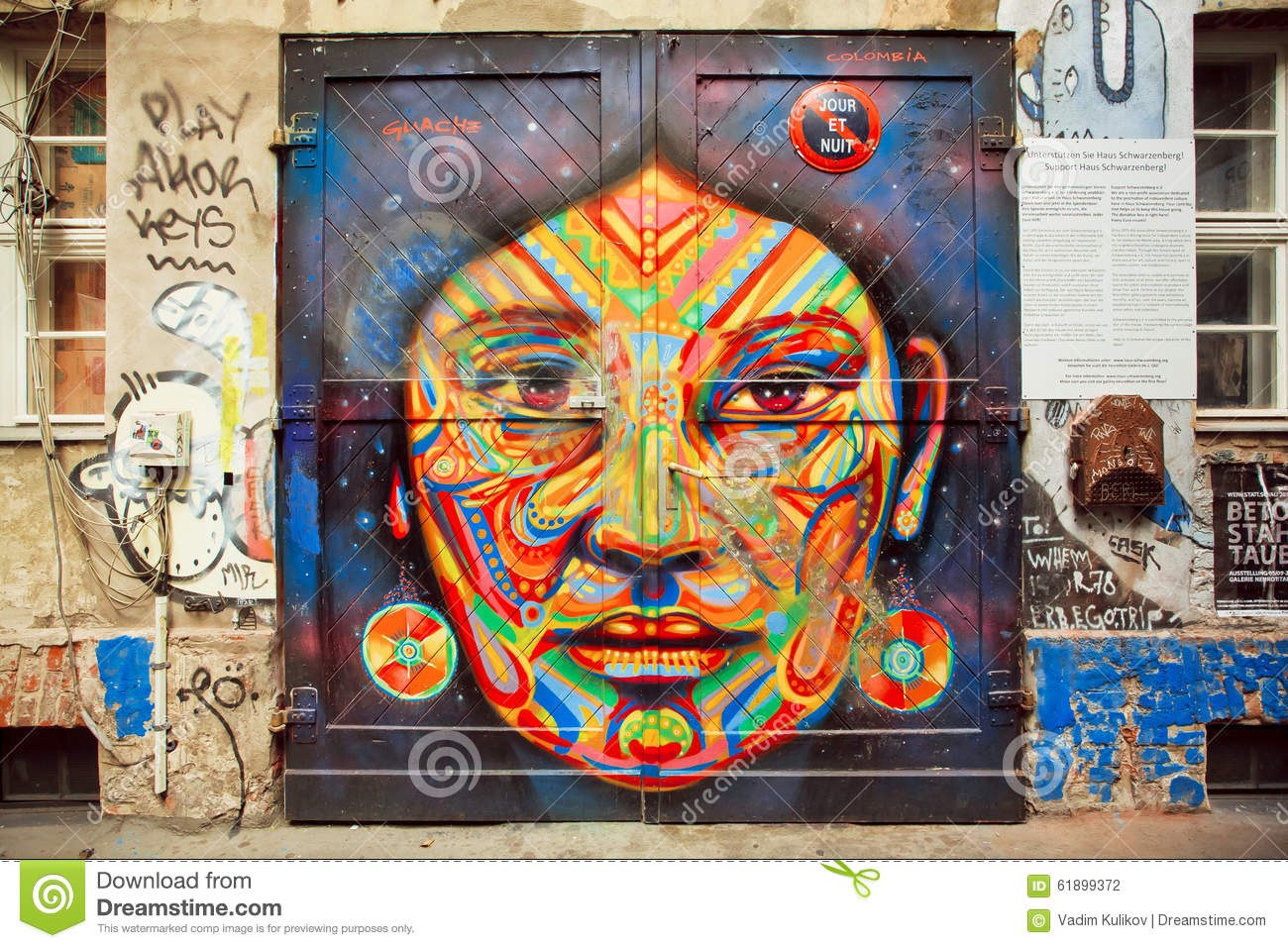 Graffiti With Beautiful Face Of Ethnic Lady On The Rustic