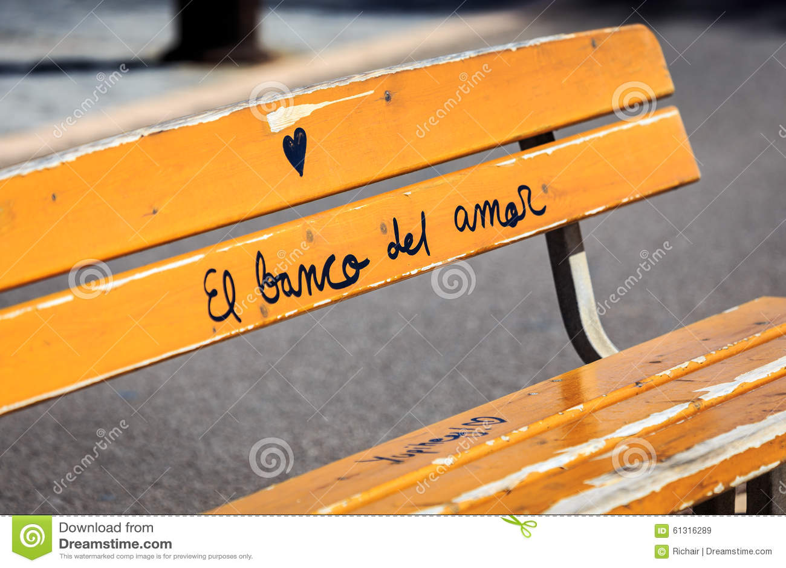 Graffiti on bench