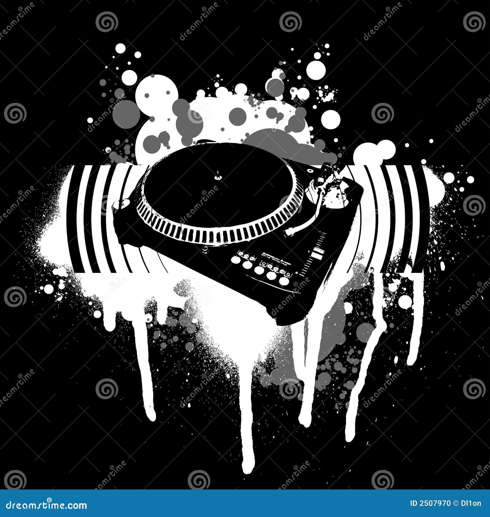 Graffiti black white turntable illustration 2507970 megapixl