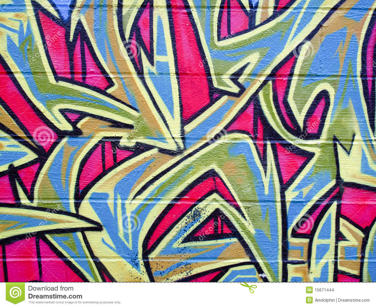 Graffiti On Brick Wall Stock Photo Image Of Bold Colors