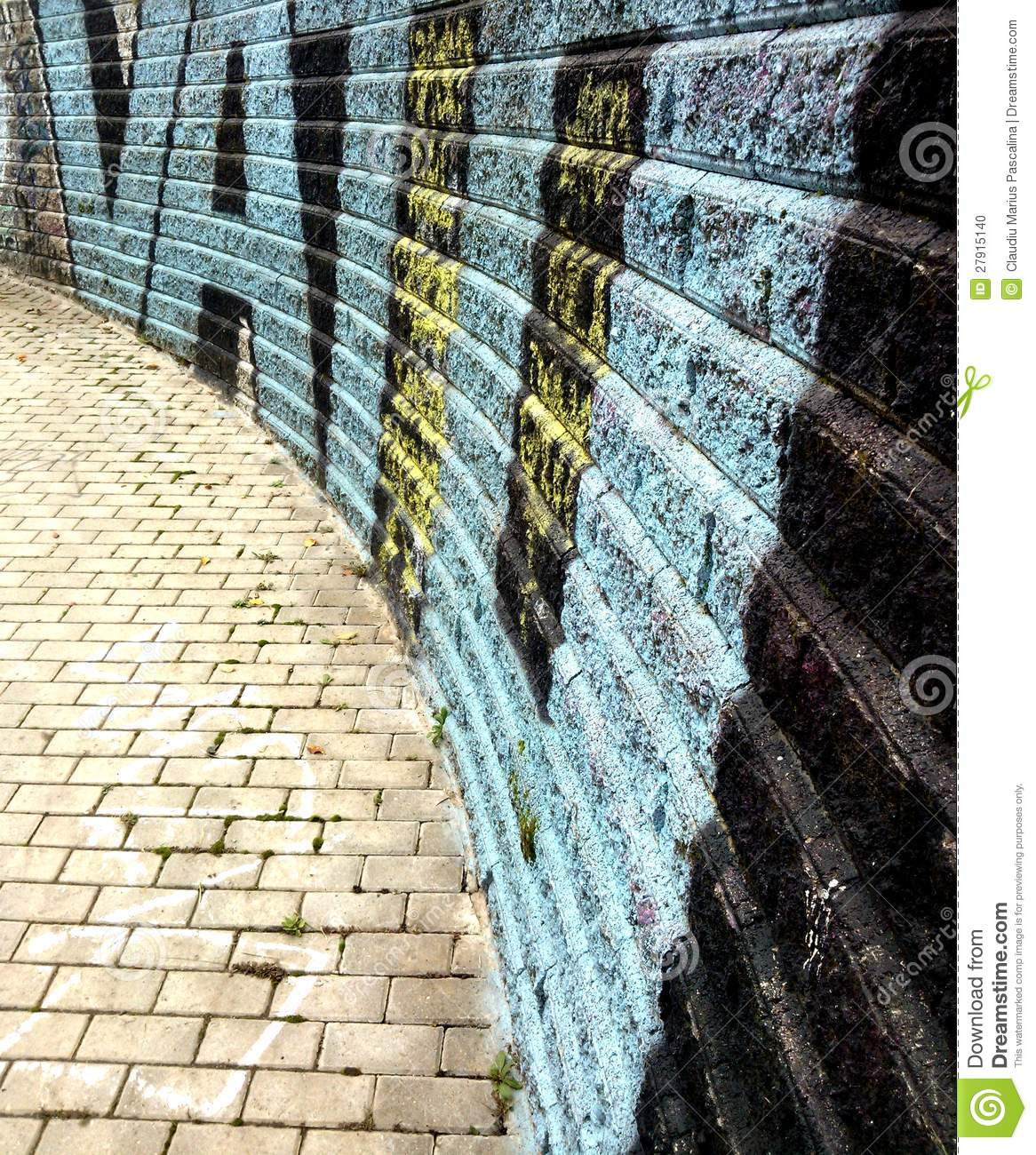 Perspective background image of graffiti brick wall in milan italy