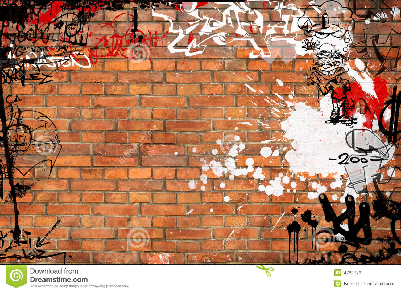 Graffiti Brick Wall Stock Illustration Illustration Of