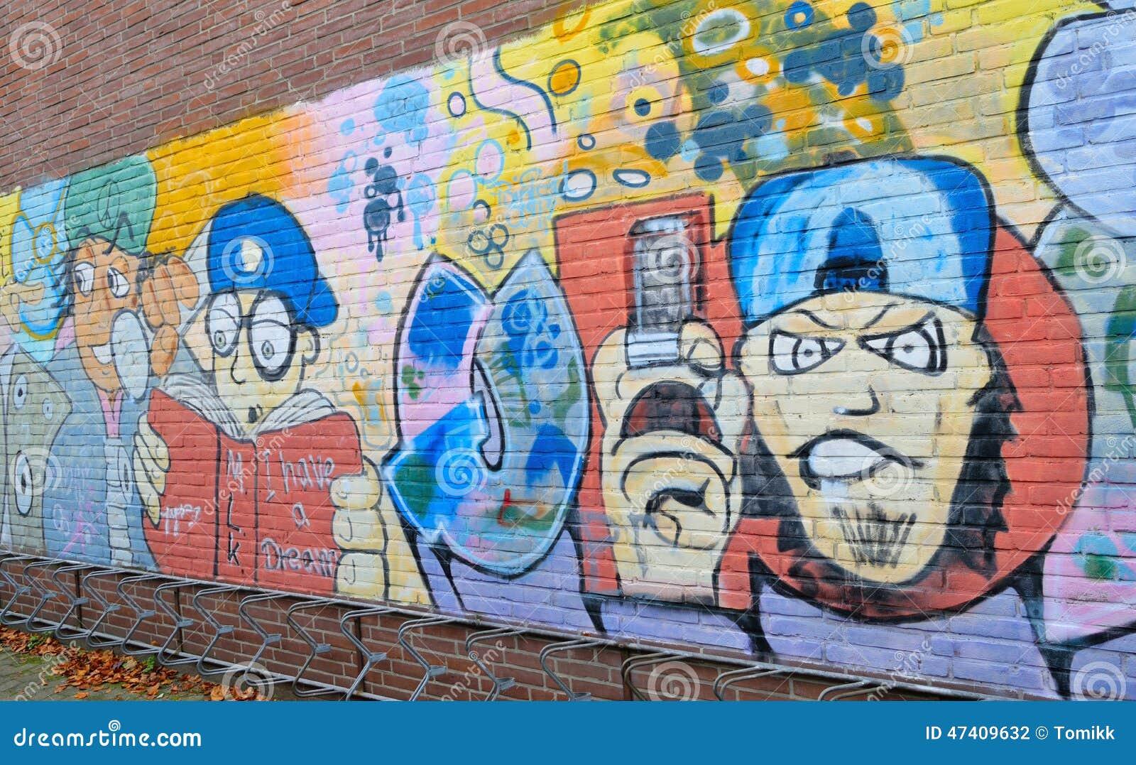 Brick Wall Art graffiti brick wall art in germany editorial photography - image