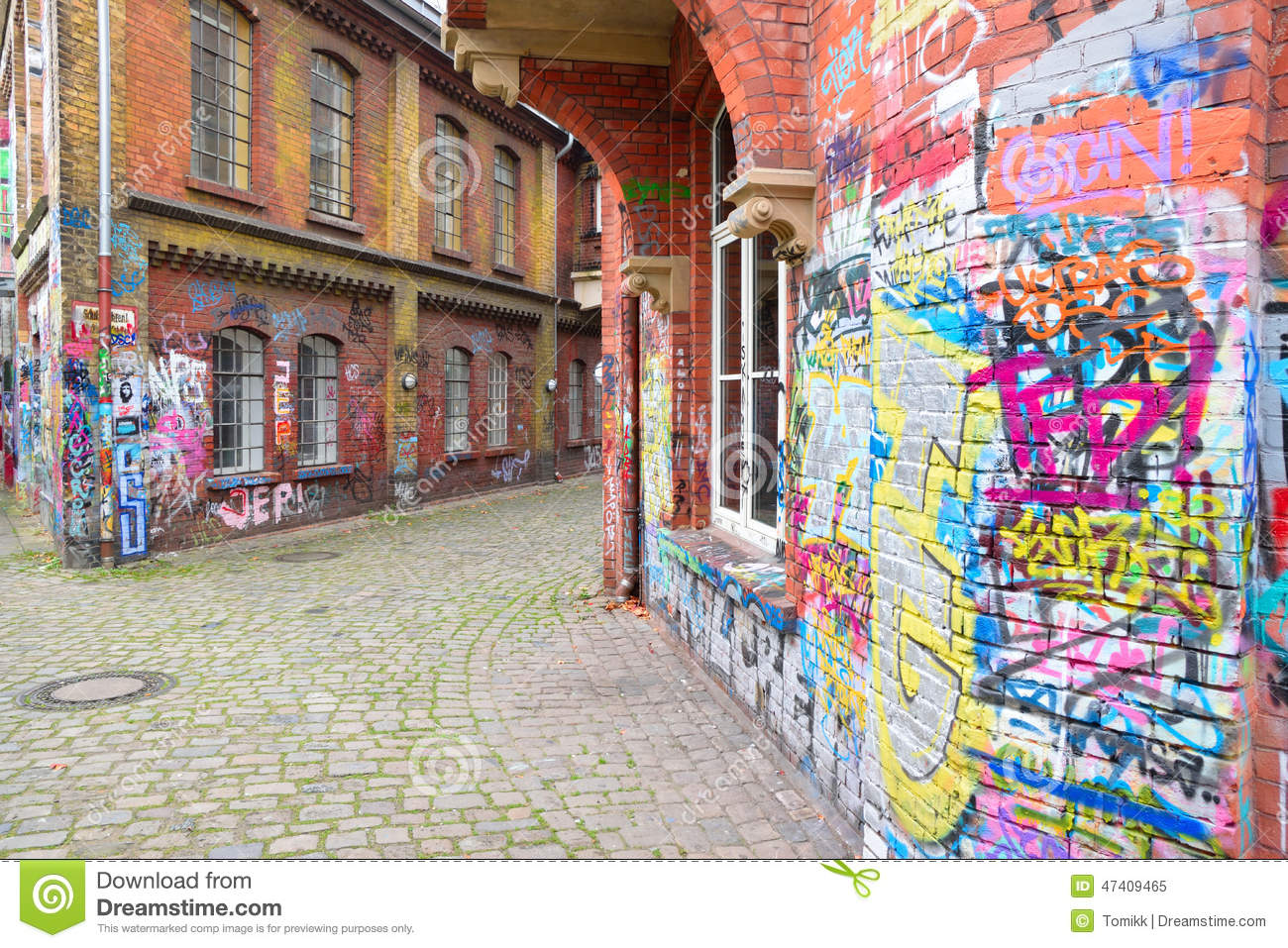 Brick Wall Art graffiti brick wall art scale alley in germany editorial image