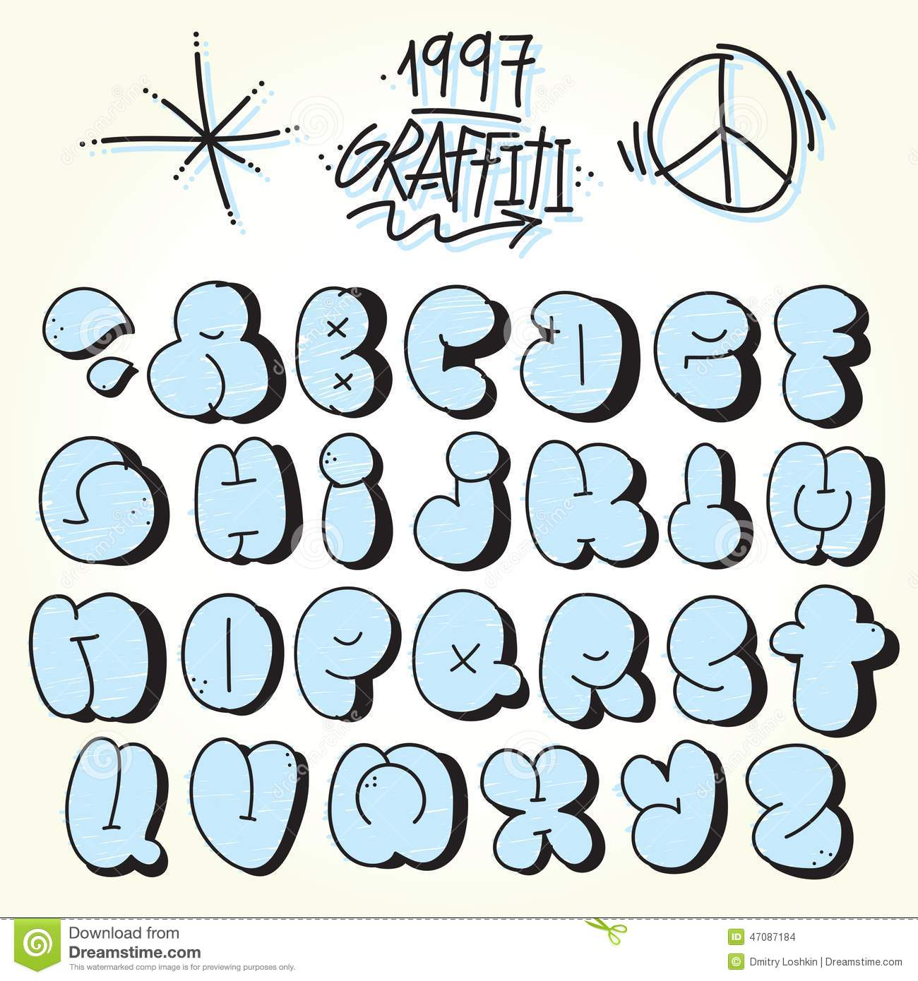 Graffiti bubble vector font