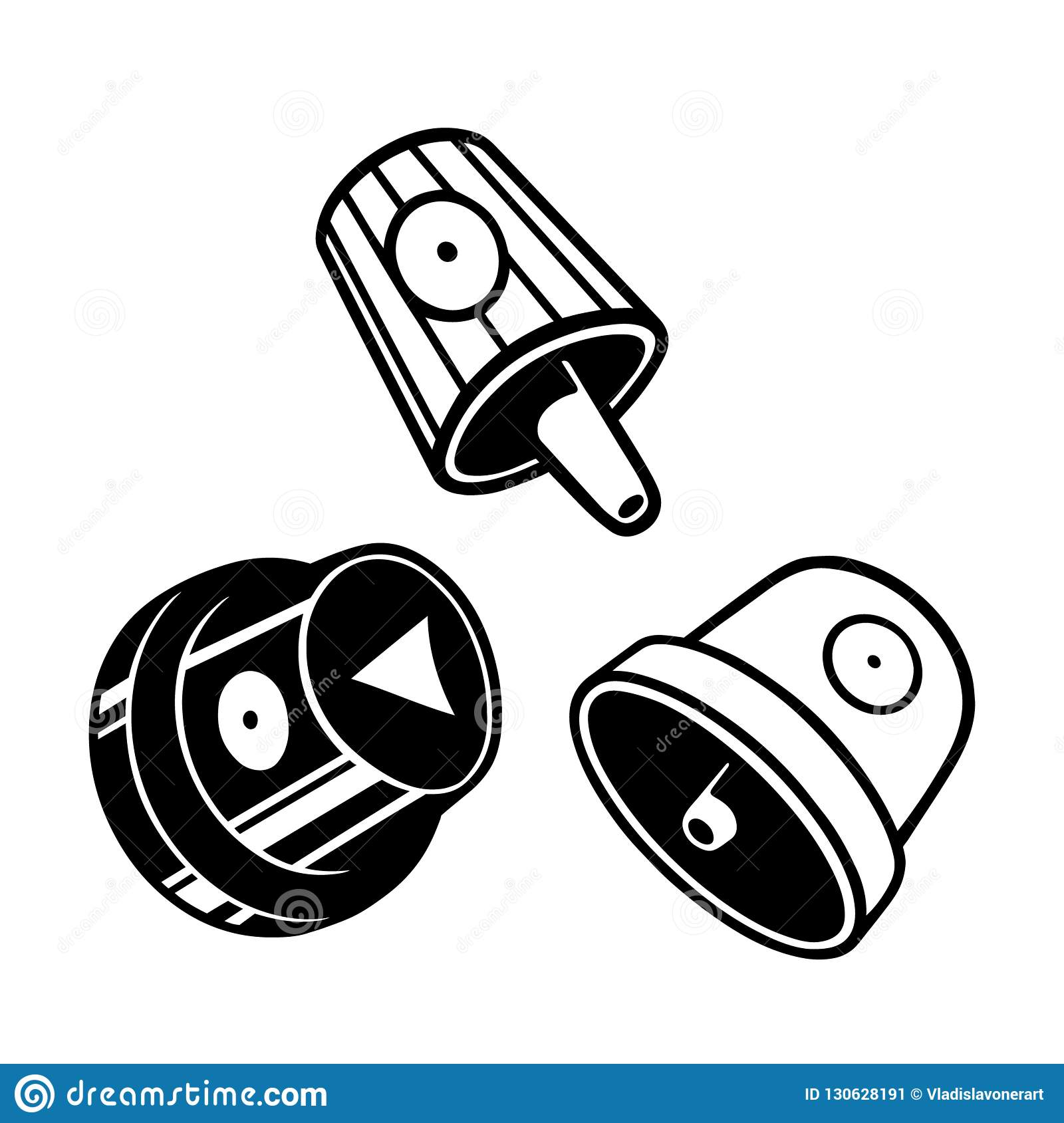 Graffiti caps set. Spray can caps. Vector Black and white illustration.  Graffiti art tools. ab1c7aa3070