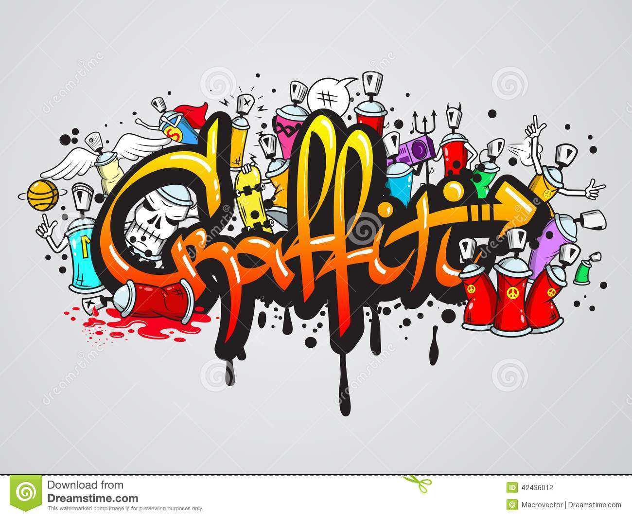 Decorative graffiti art spray paint letters and characters composition ...
