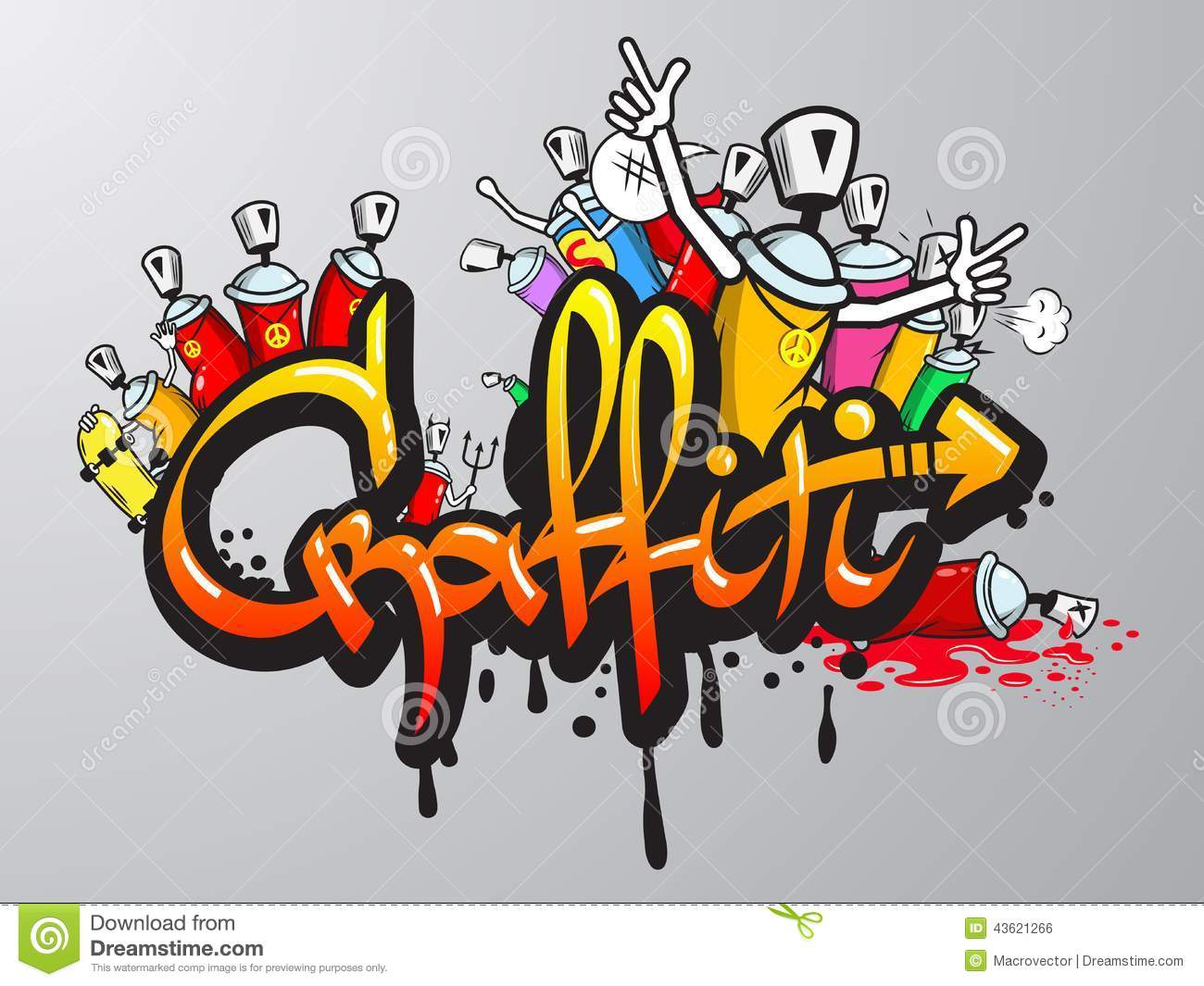 graffiti characters print stock vector image 43621266. Black Bedroom Furniture Sets. Home Design Ideas