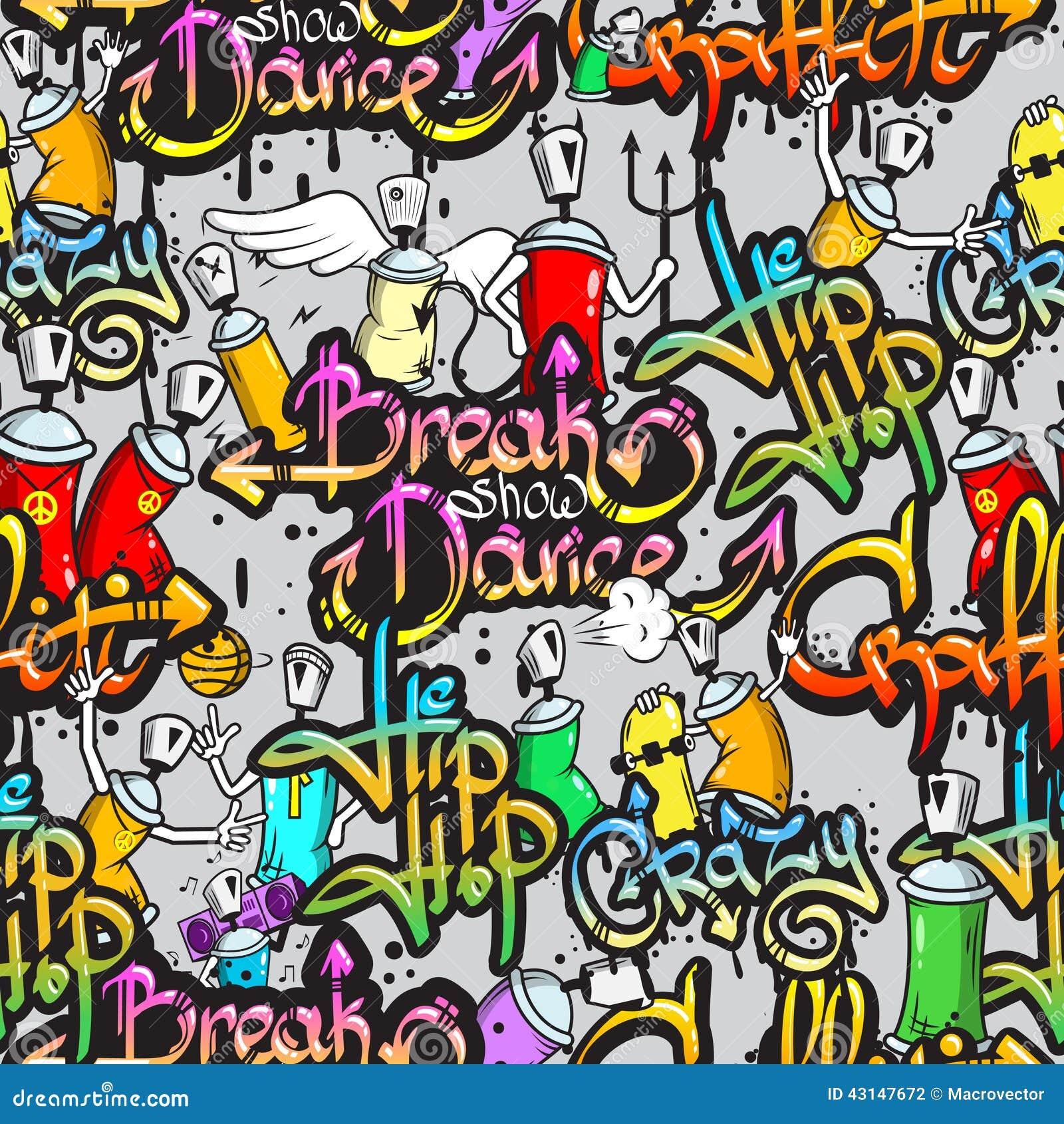 Dance Wall Murals Graffiti Characters Seamless Pattern Stock Vector