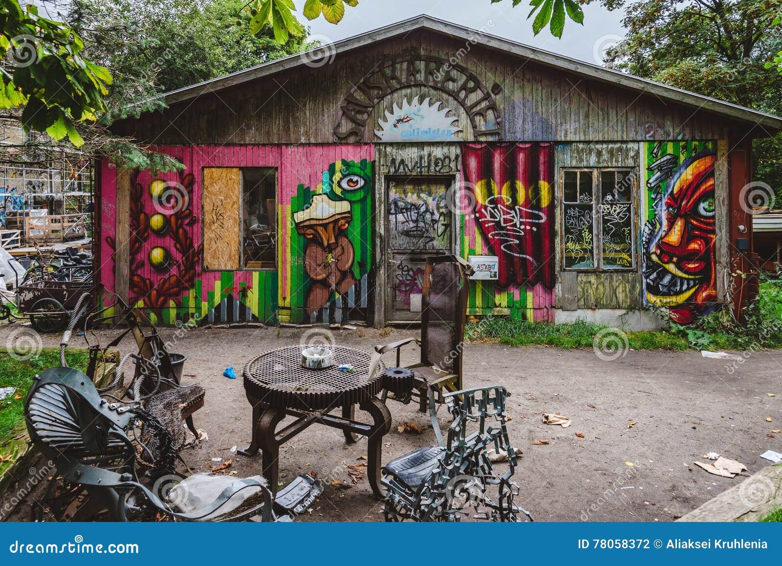 Graffiti in Christiania District in Copenhagen