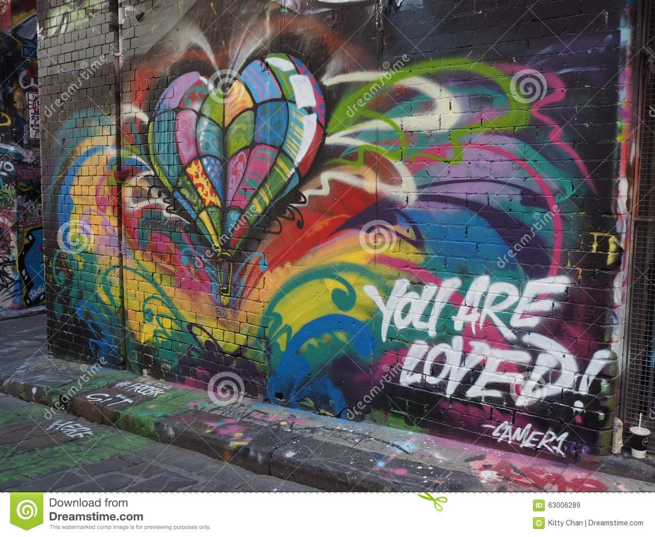 You r loved graffiti stock photo