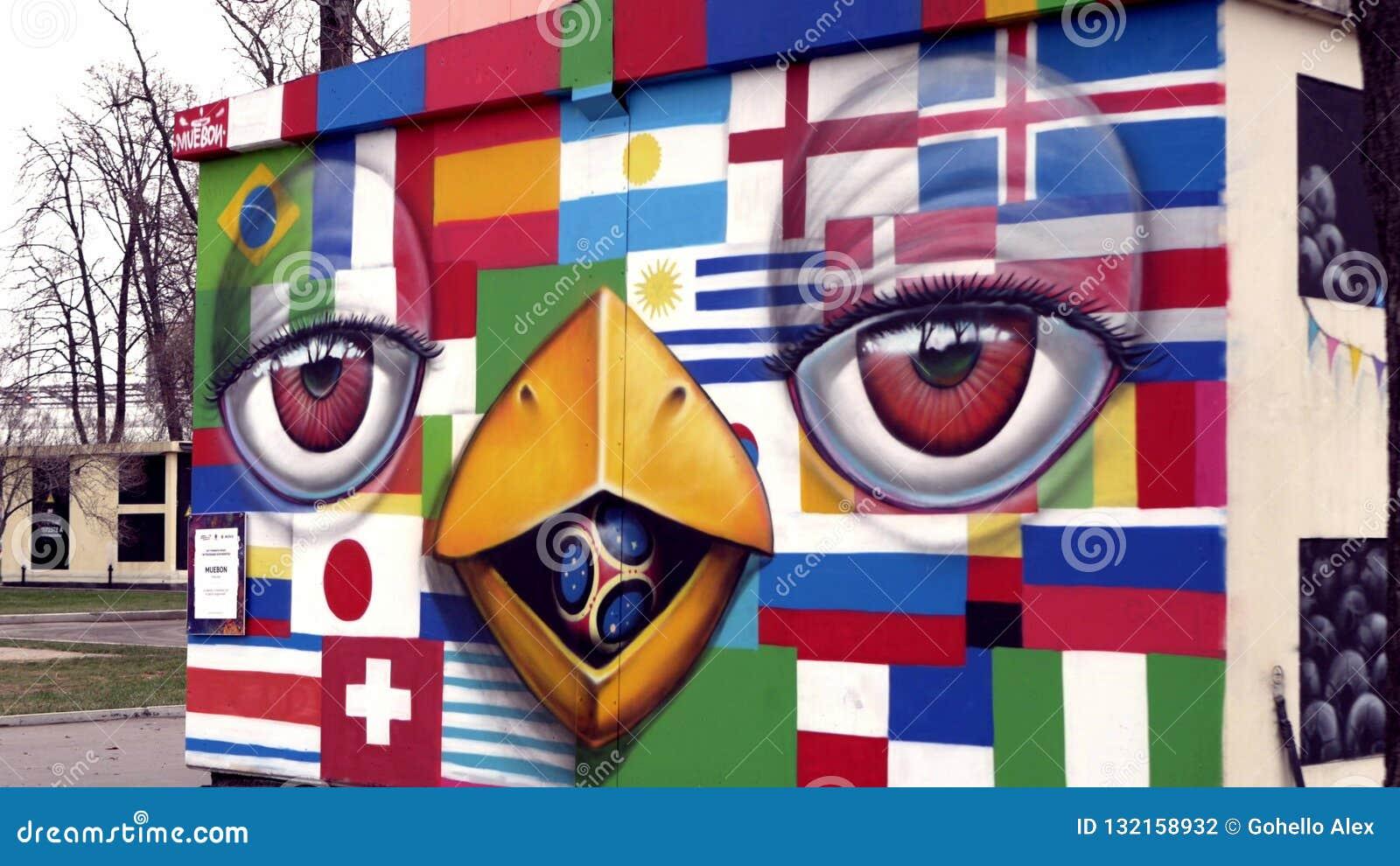 Graffiti con le bandiere ed i fumetti