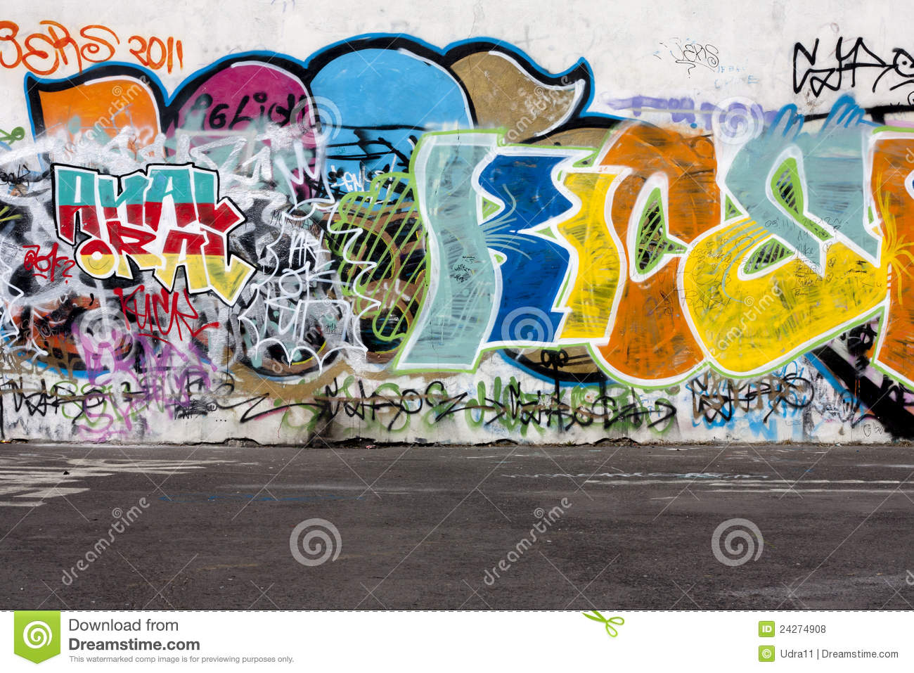 Graffiti and concrete floor abstract background