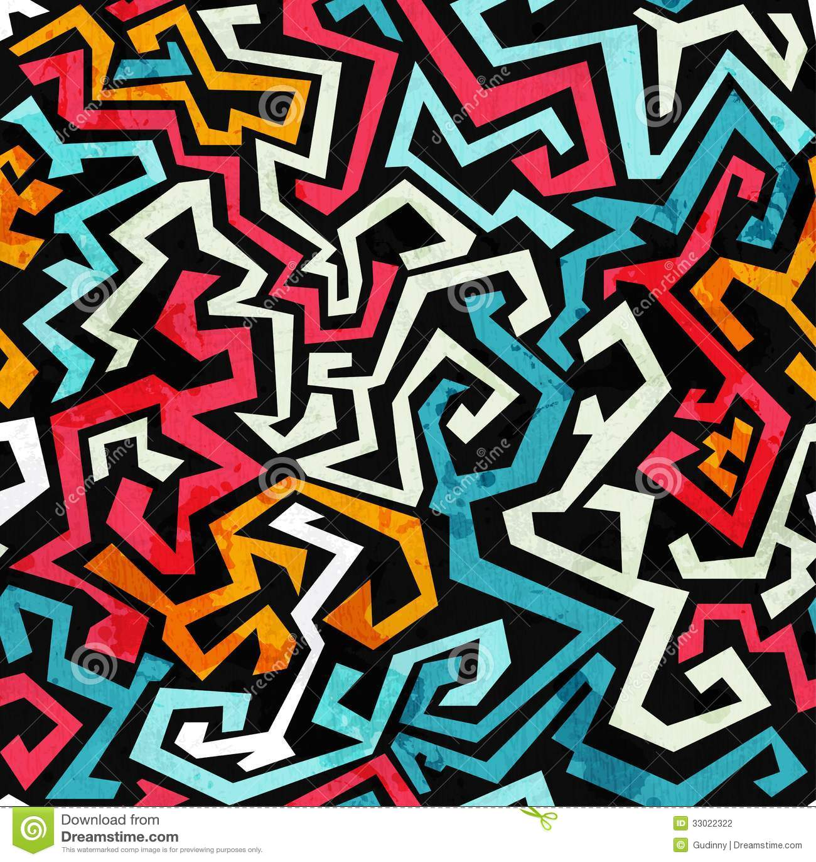 graffiti curves seamless pattern with grunge effect stock