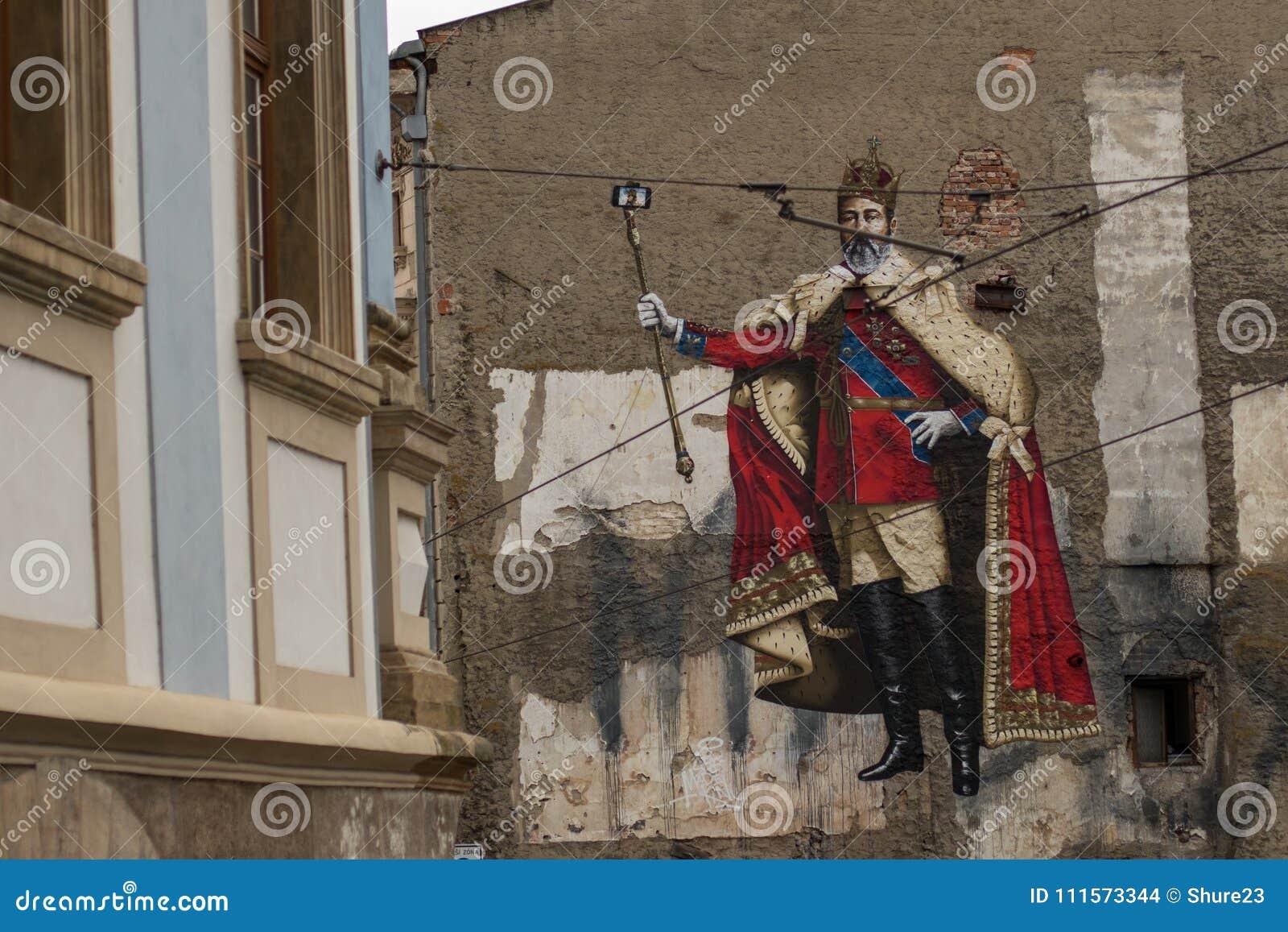 Graffiti d empereur faisant le selfie