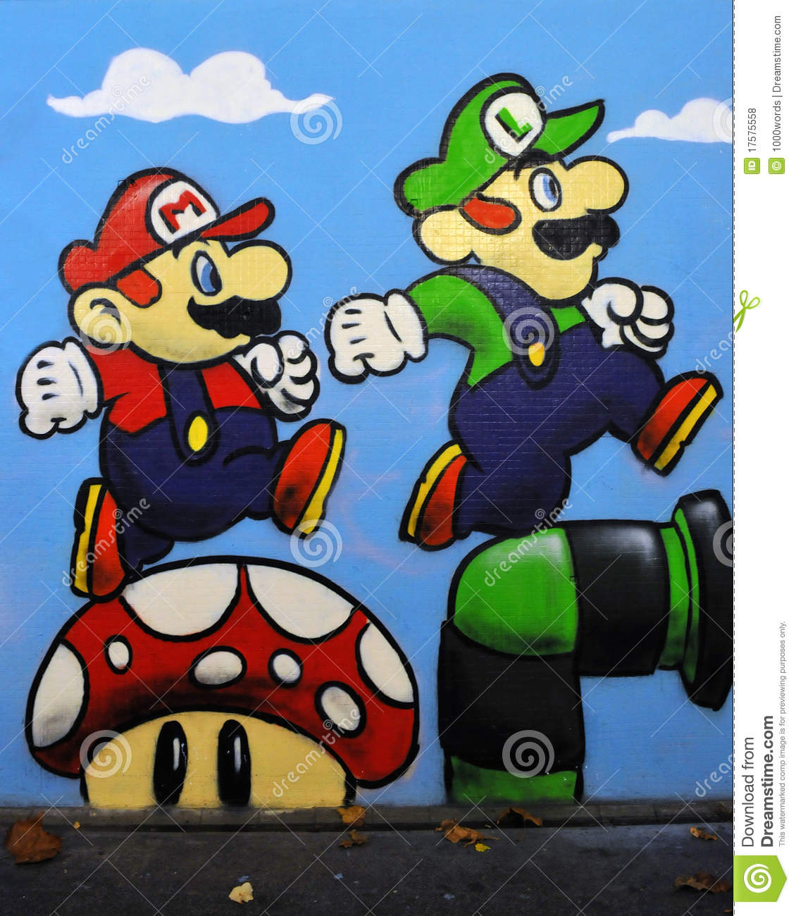 Graffiti De Mario Et De Luigi Du Jeu De Nintendo Photo Stock