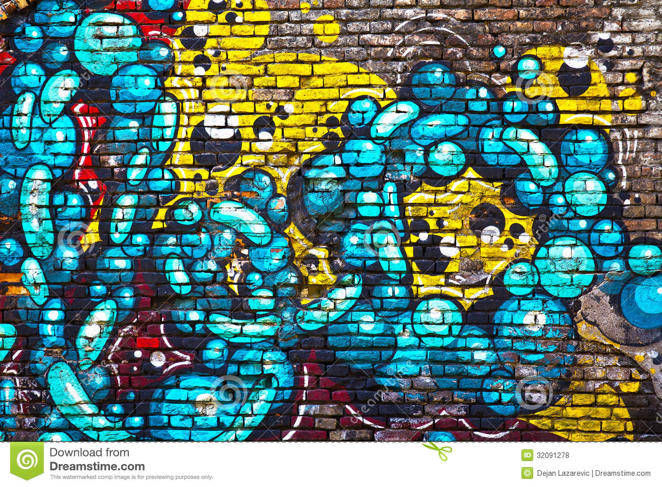 Graffiti De Mur De Briques Photos libres de droits - Image