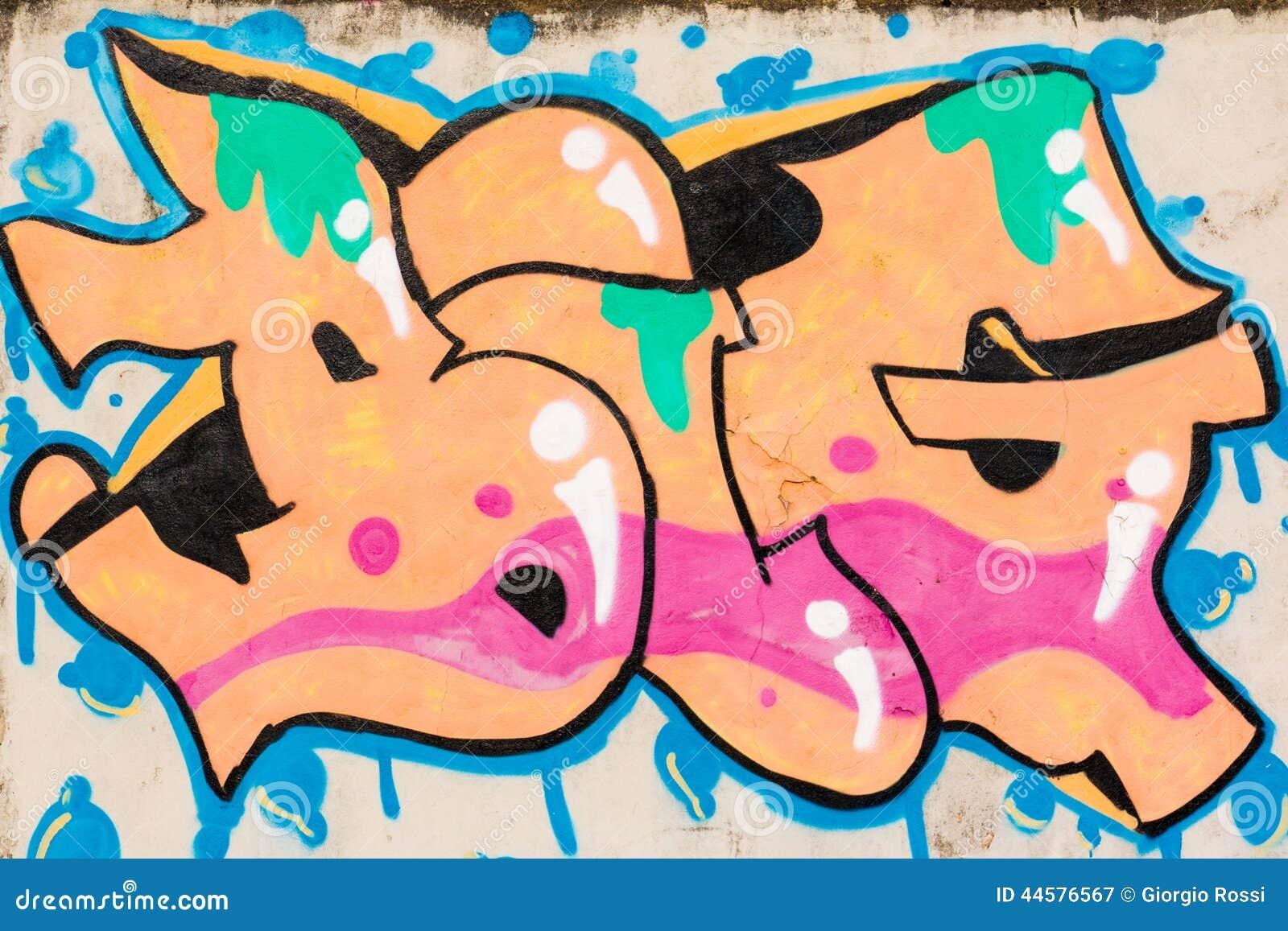 Graffiti der orange, rosa, grünen und blauen beschaffenheit gross ...