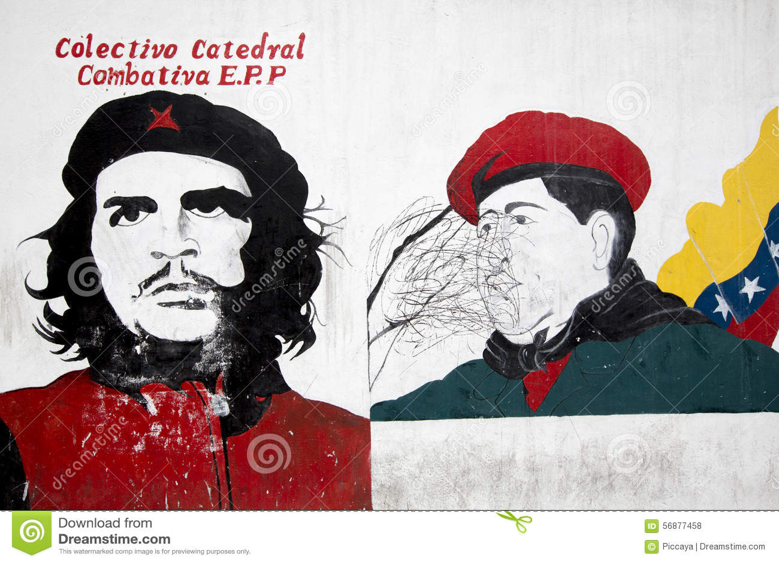 Graffiti di Hugo Chavez President e di Che Guevara caracas Vene