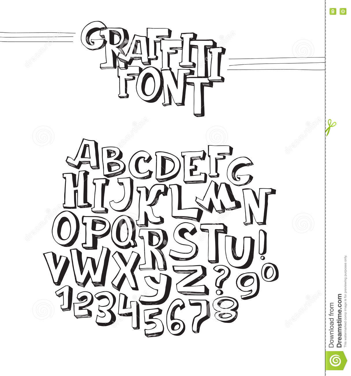 Graffiti font abc letters from a to z and numbers from 0 to 9 isolated on white background vector 3d hand drawn alphabet black dimentional letters