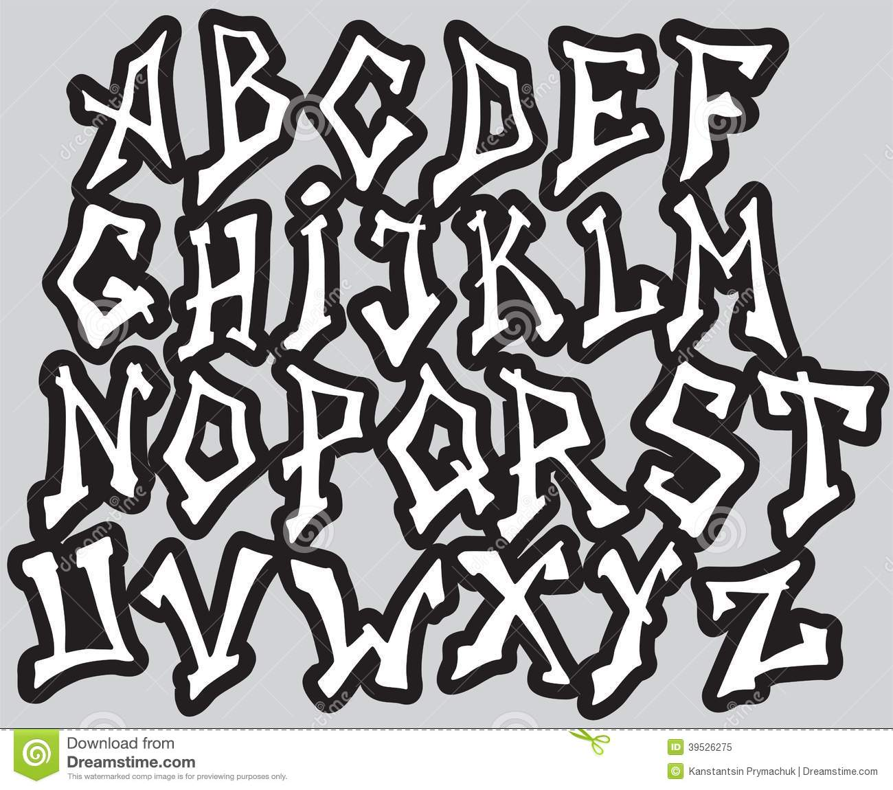 Graffiti Font Alphabet Different Letters Vector Stock