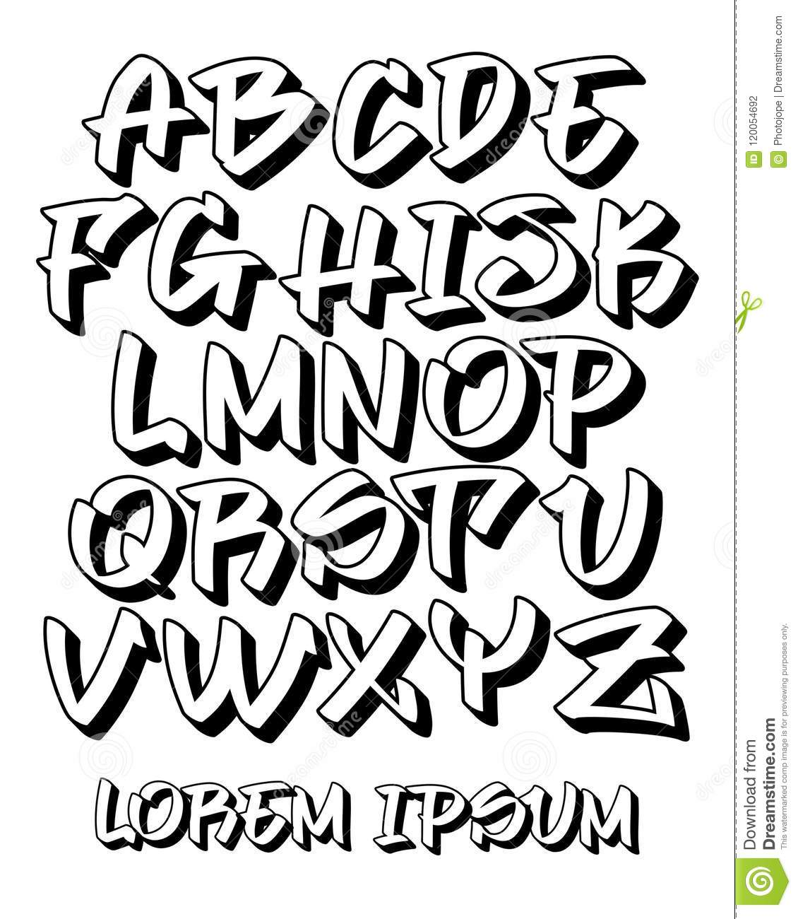 Vectorial font in readable graffiti hand written 3d style capital letters alphabet customizable colors
